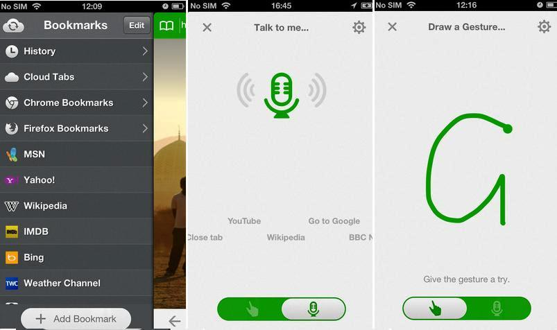 Navegador gratuito mediante voz y control de gestos para iPad, Iphone, iPod y Android