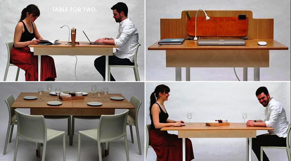 Una oficina que se transforma en mesa de comedor y for Comedor para oficina