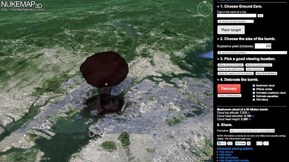 Vea cómo estallaría una bomba atómica en su vecindario