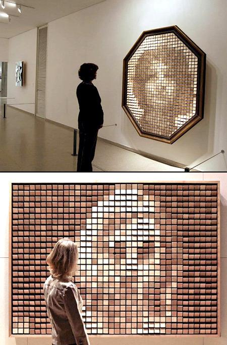 Espejo interactivo hecho de madera