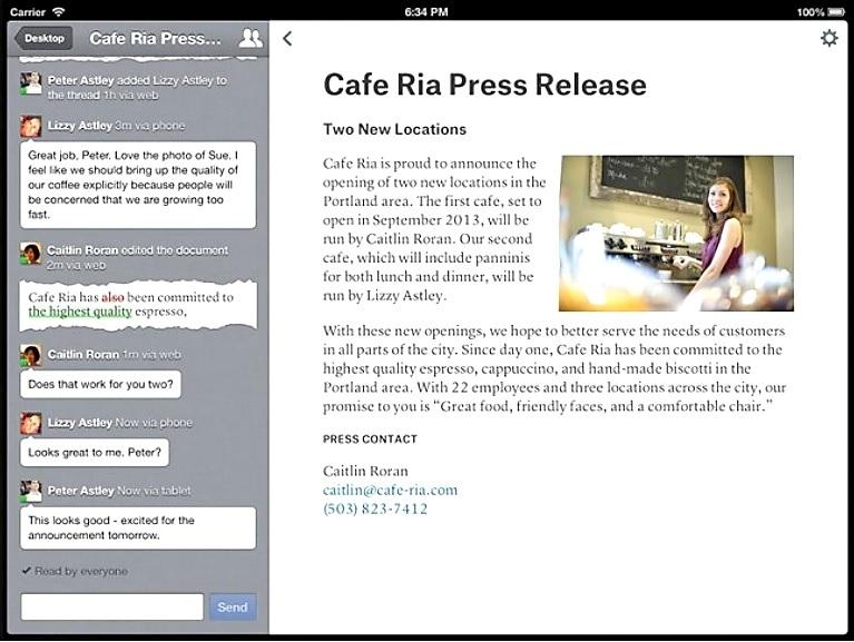 Editor de texto colaborativo, gratis para iPad, iPhone, iPod y Android