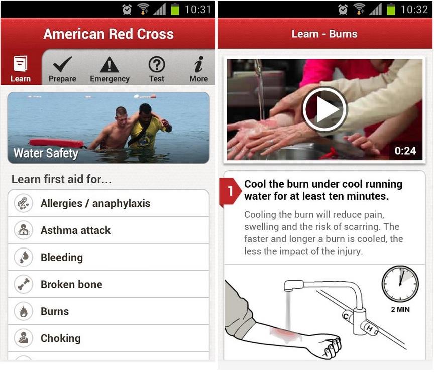 Aplicación gratuita de la Cruz Roja norteamericana, para iPhone, iPad, iPod, Android