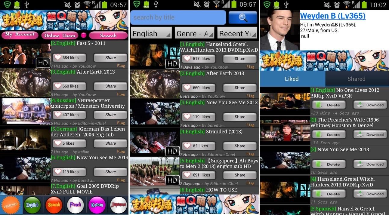 Vea películas completas en diferentes idiomas, gratis para Android