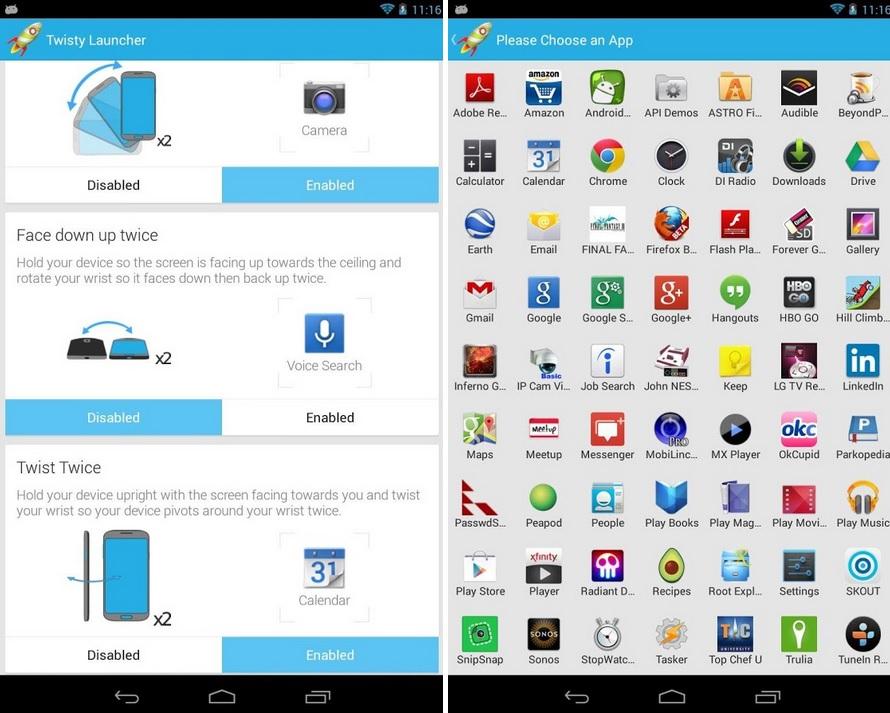 Abra sus aplicaciones preferidas con solo mover su mano, gratis para Android