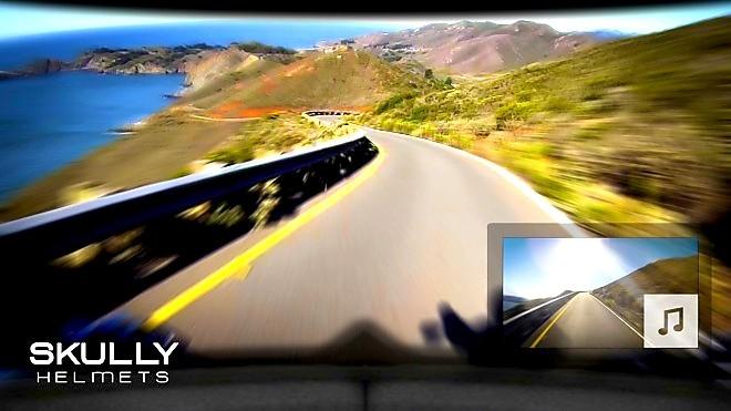 Casco para motociclista con realidad aumentada y cámara que sirve de espejo retrovisor