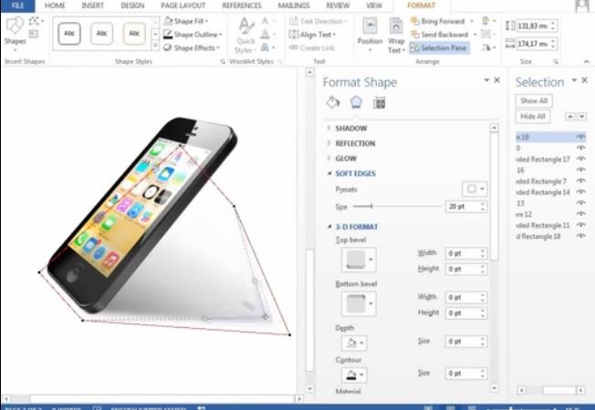 Fue la interfase de iOS 7 creada en Word?