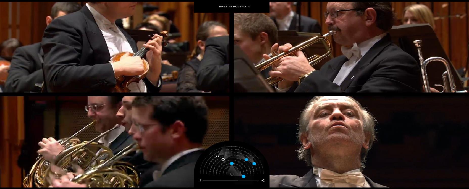 Sitio interactivo que permite escoger desde dónde mirar a la Orquesta Sinfónica de Londres tocando