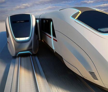 Tren futurista que nunca se detiene y se aborda en movimiento