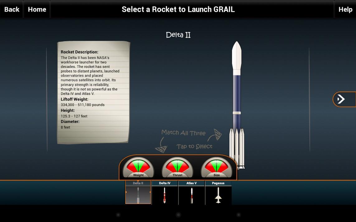Aplicativo de la NASA para niños que enseña sobre cohetes, gratis para iPhone, iPad, iPod, Android