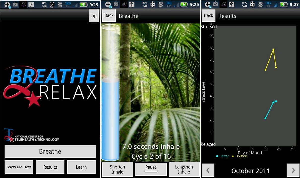 Controle su estrés con ejercicios de respiración, gratis para iPhone, iPad, iPod, Android