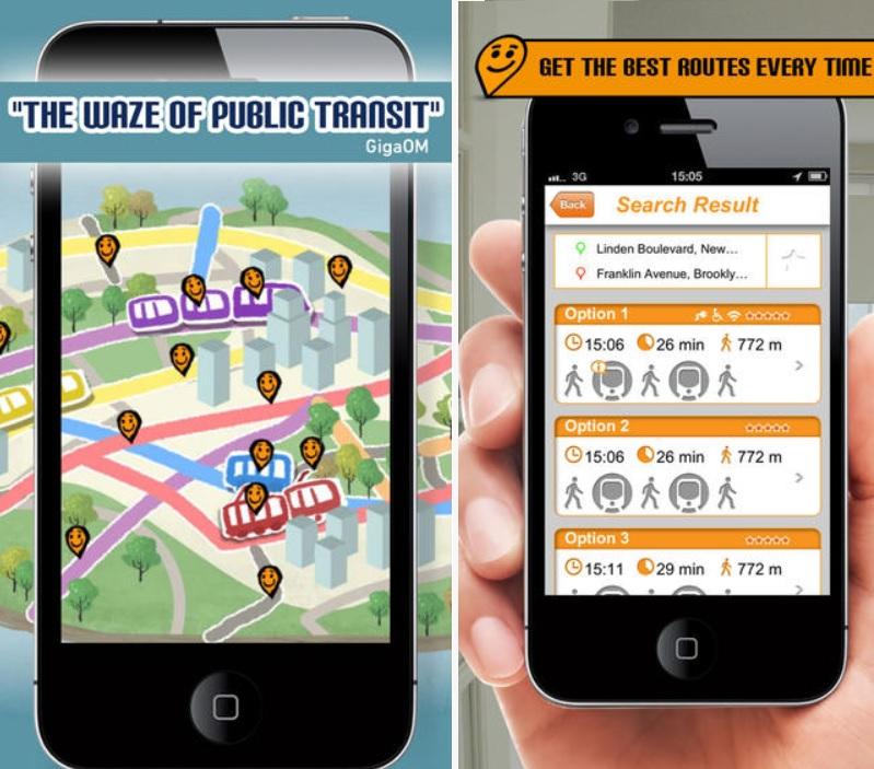 Información de rutas de transporte público en tiempo real, gratis para iPhone, iPad, iPod, Android