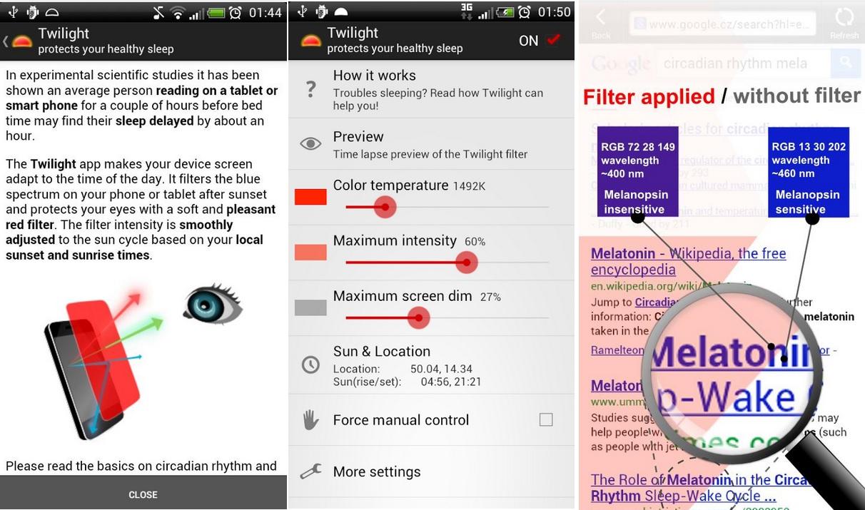 Protección contra la fatiga visual, gratis para Android