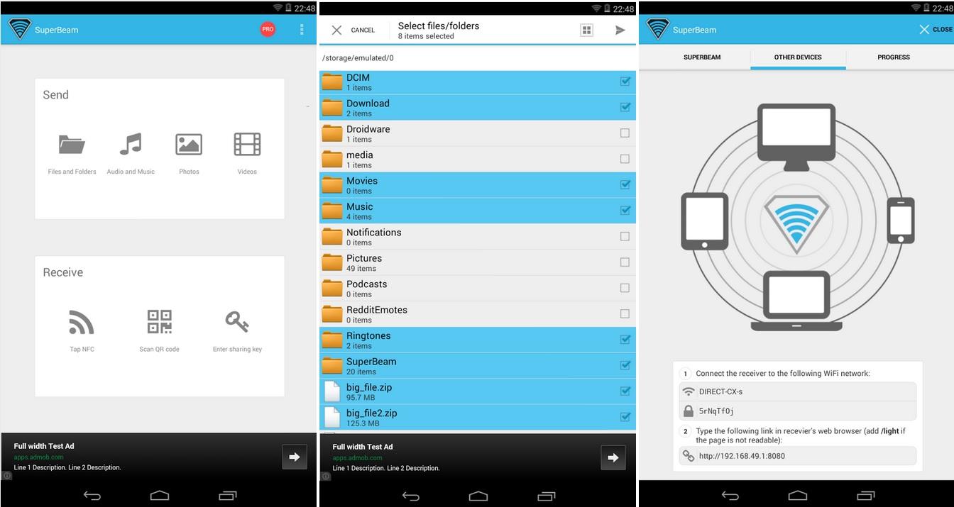 Comparta archivos grandes de forma rápida, gratis para Android