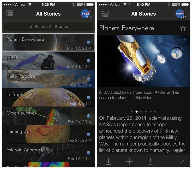 Conozca las últimas investigaciones de la NASA, gratis para iPhone, iPad, iPod