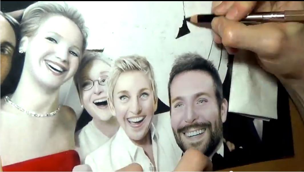 El selfie más famoso, dibujado en un asombroso Time-Lapse