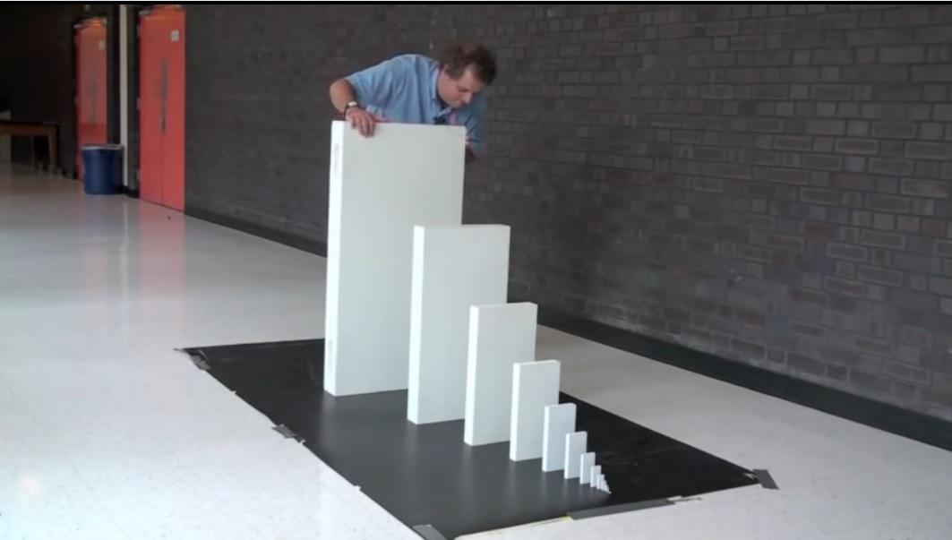 Efecto dominó con fichas crecientes en tamaño y peso