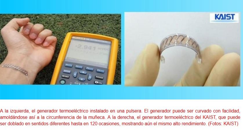 Pulsera recarga dispositivos usando el calor corporal