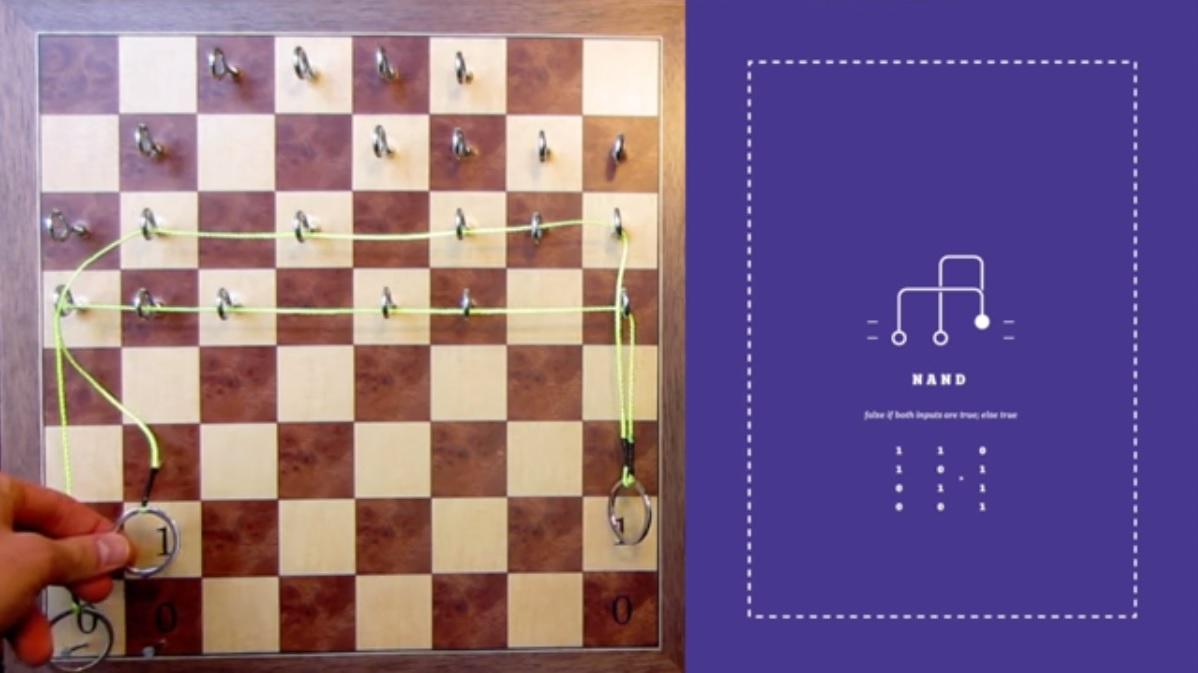 Crean un computador digital hecho con poleas, pesos y un tablero de ajedrez