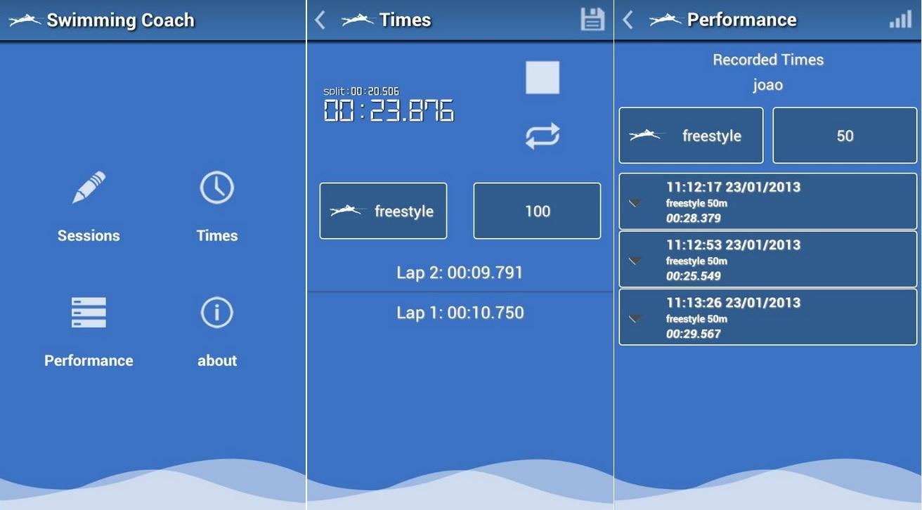 Control de entrenamientos en natación, gratis para Android
