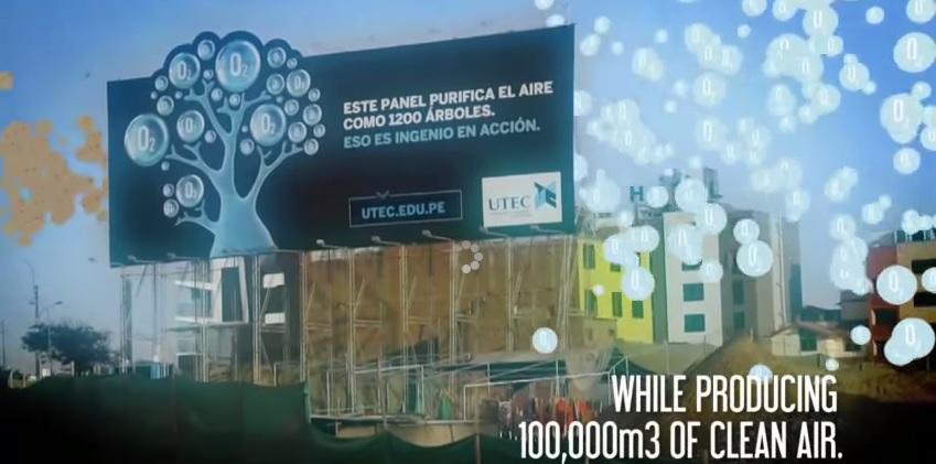 En Perú crean valla publicitaria que descontamina el aire