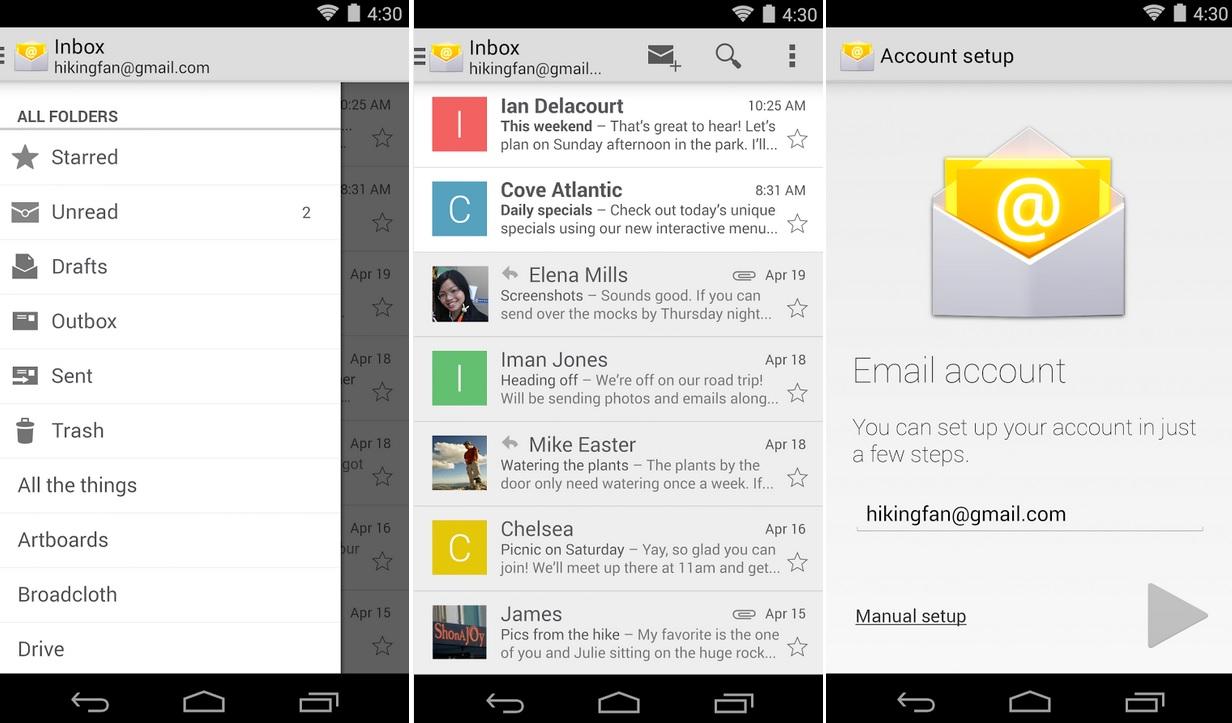Correo de Google para administrar Hotmail, Yahoo mail, Outlook, gratis para Android