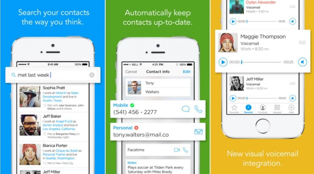 Aplicación inteligente de contactos, mensajes de voz y llamadas, gratis para iPhone