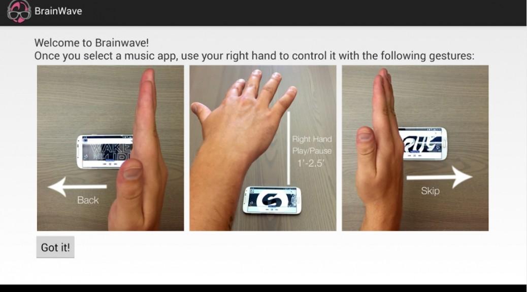 Controle su reproductor musical usando gestos, gratis para Android