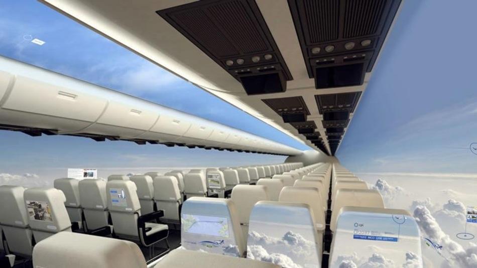 Trabajan en aviones comerciales sin ventanas, que lucirían completamente transparentes