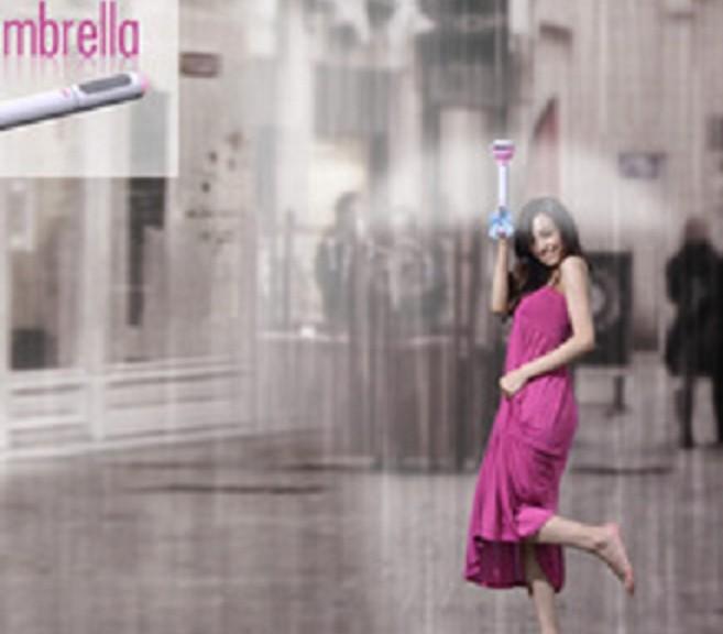Paraguas que protege de la lluvia usando solo aire