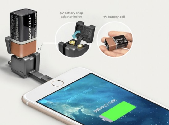 Cubo diminuto que integra cable de sincronización, cargador, adaptador microSD y linterna