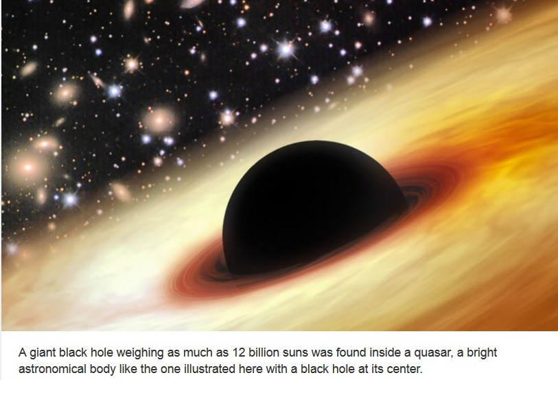Descubren agujero negro tan masivo como 12 mil millones de soles