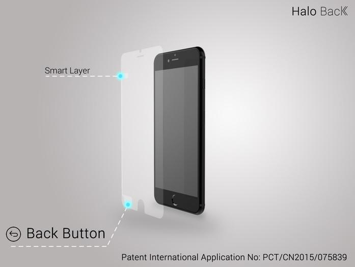 Protector de pantalla que incluye botón de retroceso para los iPhone