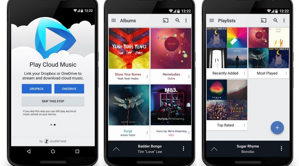 Reproductor musical que pemite oir música desde Dropbox, Onedrive y Google Drive, gratis para Android