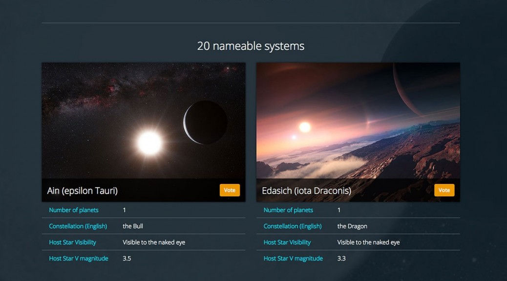 Ahora puede votar en línea para darle nombre a planetas alienígenas