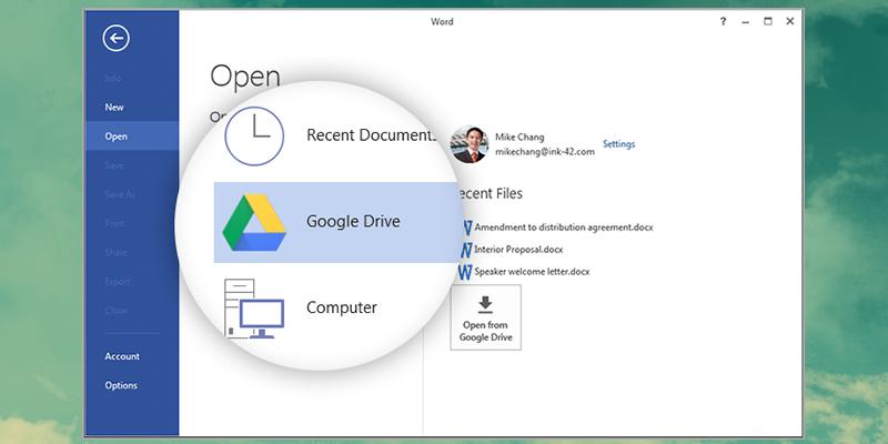 Complemento para tener Google Drive dentro de Microsoft Office