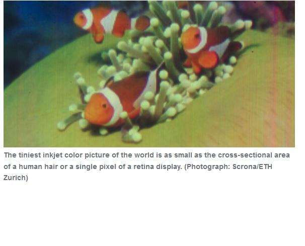 Han logrado la imagen a color con inyección de tinta más pequeña jamás producida