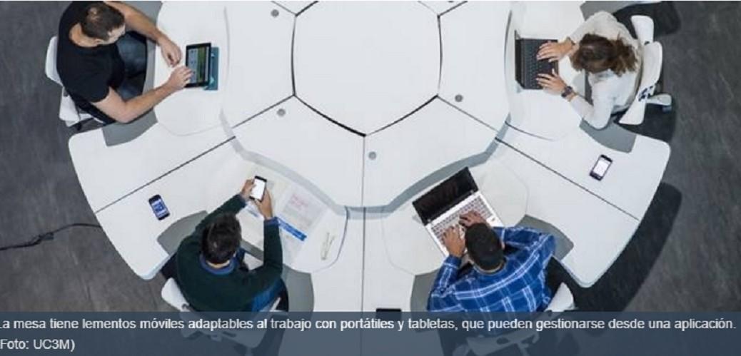 Diseñan mesa ergonómica con sensores y elementos móviles
