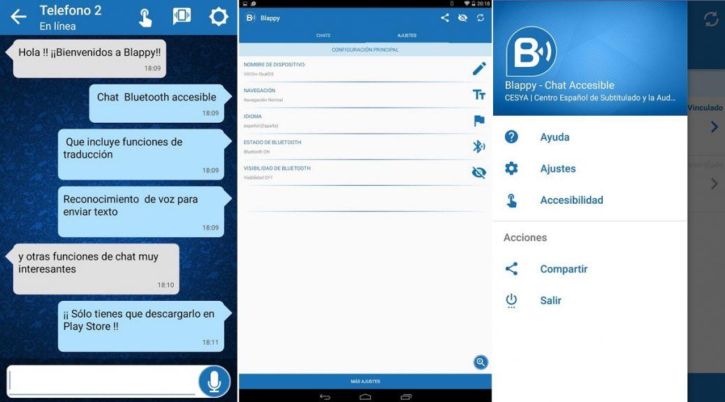 Chat por bluetooth para personas con discapacidad sensorial, gratis para Android