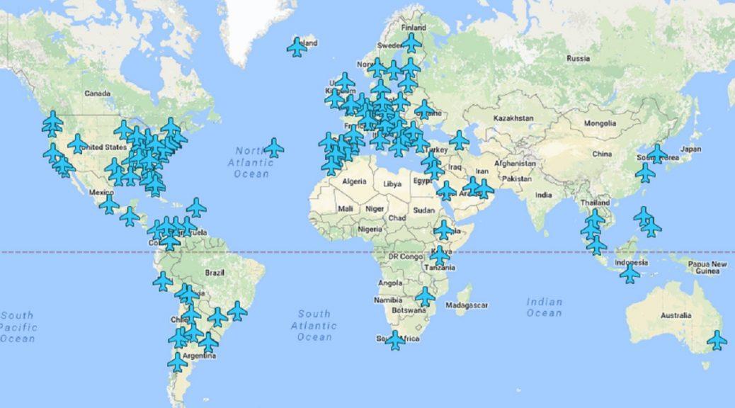 Mapa con las contraseñas Wi-Fi de los aeropuertos de todo el mundo