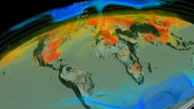 Impresionante video de la NASA muestra el movimiento del dióxido de carbono en nuestro planeta durante un año