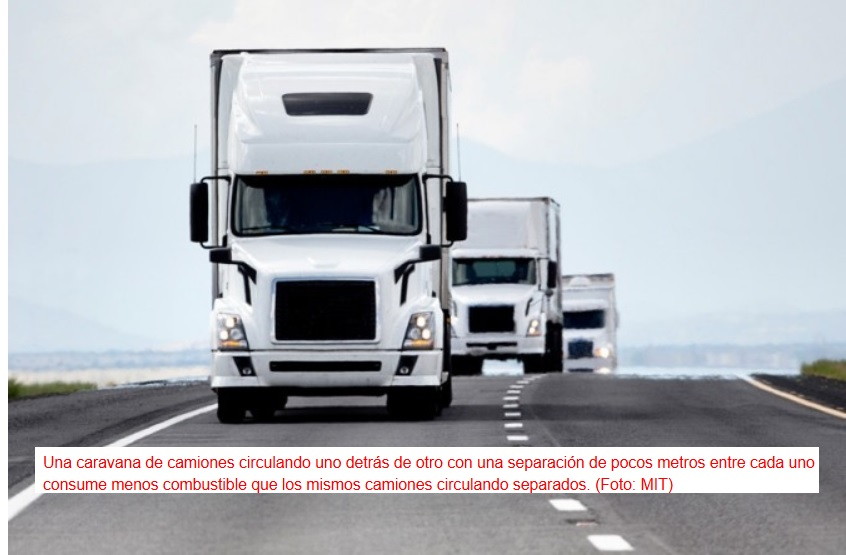 Caravanas de camiones autoconducidos para ahorrar combustible en el transporte de mercancías