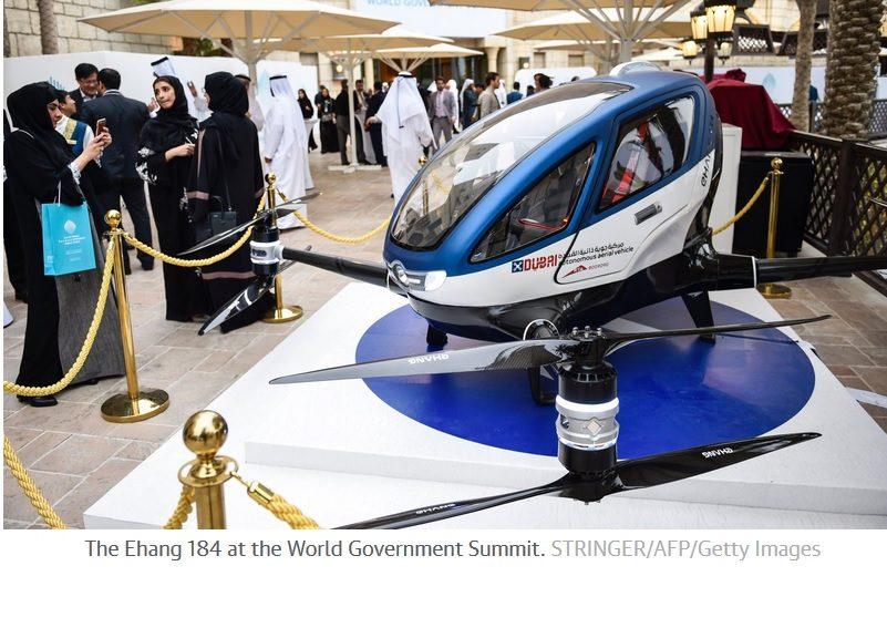 Drones de pasajeros comenzarán a volar sobre Dubai a mitad de este año