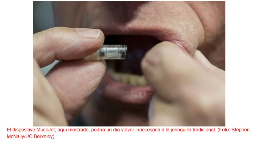 Sistema revolucionario de administración de vacunas sin aguja en la cara interna de la mejilla