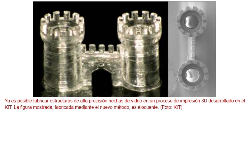 """Impresión 3D usando vidrio como """"tinta"""""""