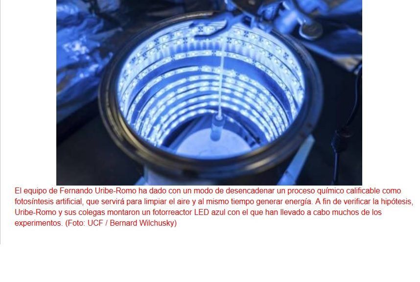 Fotosíntesis artificial para limpiar el aire