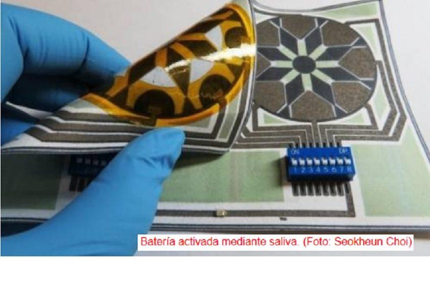 Pila eléctrica energizada mediante saliva