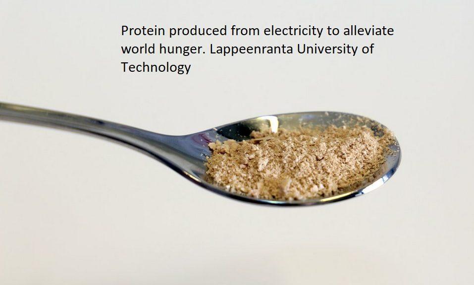 Crean comida con electricidad obtenida con energías renovables