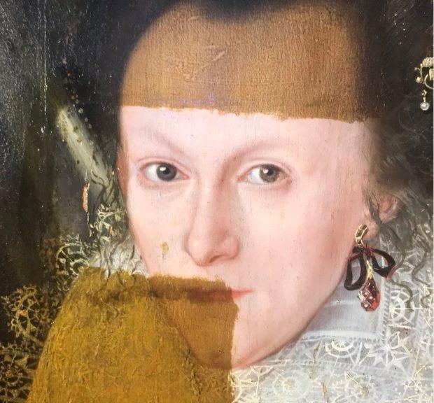 Mire cómo una pintura al óleo pierde 200 años de barniz mugriento