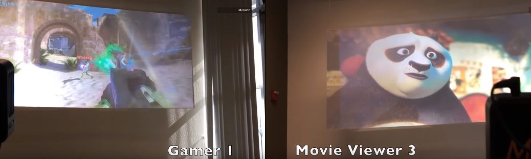 Pantalla de proyector permite ver dos (o más) películas al mismo tiempo