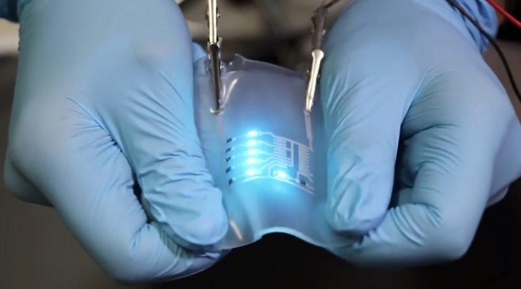 Circuito elásticos que se pueden doblar, estirar y arrugar
